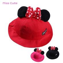 2019 Cartoon Baby Sun Hat Cute Dot Mickey Ears Big Bow Baby