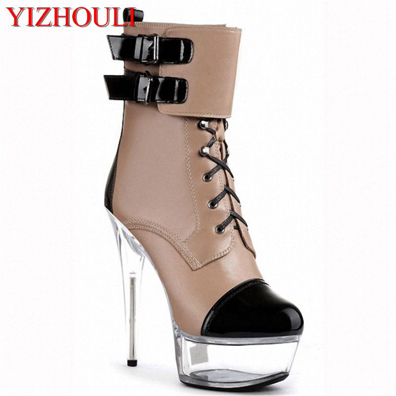 15cm buckle color block ankle boots women fashion strappy short boots winter footwear 6 inch high heel shoes motorcycle boots15cm buckle color block ankle boots women fashion strappy short boots winter footwear 6 inch high heel shoes motorcycle boots