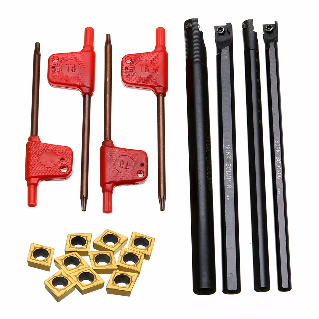 4pcs 6/7/8/10mm SCLCR06 Boring Bar +10pcs CCMT060204 Inserts+ 4pcs T8 wrenches For Lathe Turning Tool 4pcs cnc lathe turning tool holder 6 7 8 10mm sclcr06 boring bar 10pcs ccmt060204 carbide inserts durable blades 4pcs wrench