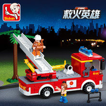269Pcs Ladder Fire Truck City Rescue Car Building Blocks Kids  Technic Bricks Educational Toys for Children