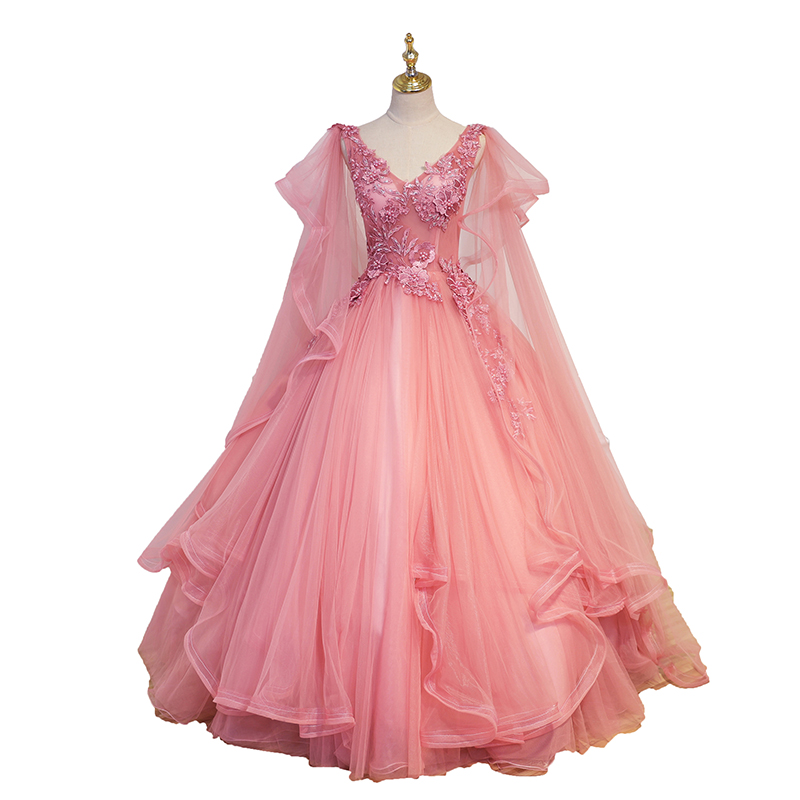 100%real masquerade pink wave sleeve embroidery court medieval dress renaissance Gown queen Victorian /Marie/drama/ball gown