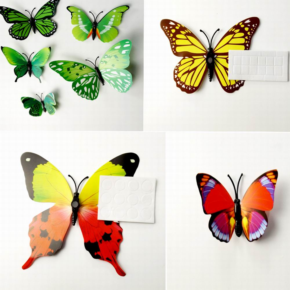 3D Butterfly Wall Decals Multicolor PVC Wall Stickers For TV Wall Kids  Bedroom Wall Home House Decoration ... Part 66