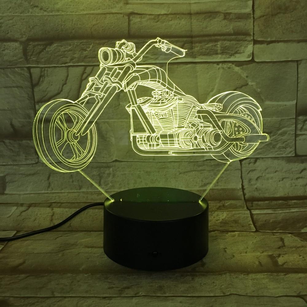 Motor Bike Night Light  7 Colors Changing 3D LED Lamps Big Wheel Racing Motorcycle Portable Lights Friends Kids Birthday Light