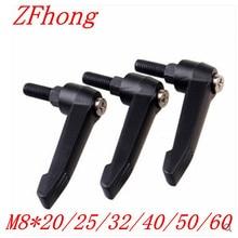 5pcs M8*20/25/32/40/50/60 Black male Thread Clamping Lever Adjustable Handle Knob