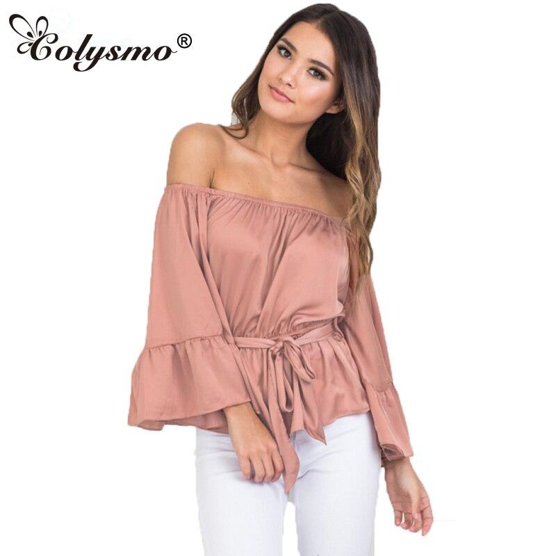 Colysmo Для женщин с открытыми плечами Flare рукавом Раффлед пояса баски шелковой атласной скольжения блузка рубашка Топ gt110