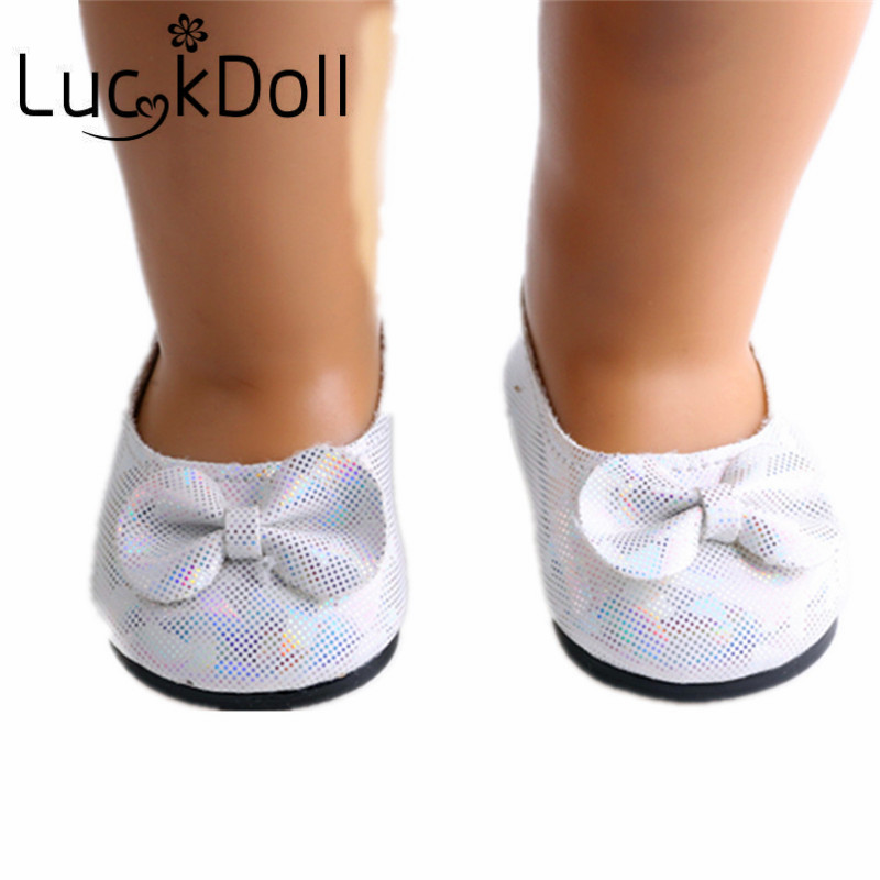 Luckdoll Round-toe Casual Shoes with Bow for 18 Inch American Girl Dolls Accessories for Dolls