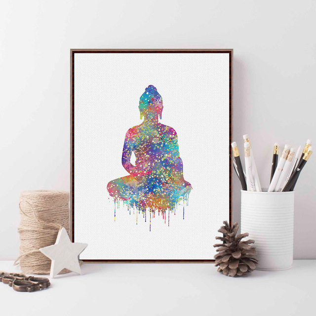 Original watercolor buddha portrait modern wall painting for Large colorful wall art