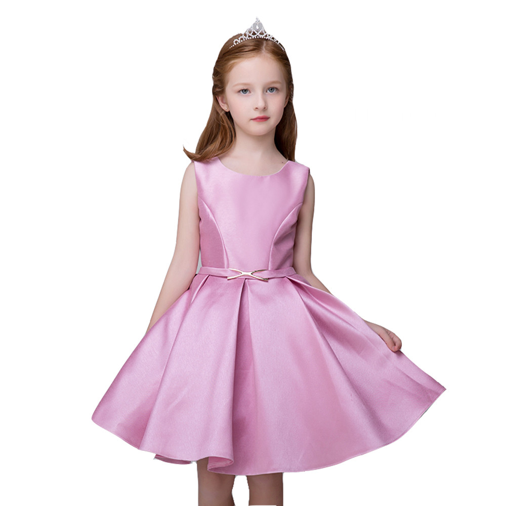 Girls Dress 2017 Autumn fashion  Casual Style Baby Girl Clothes Long Sleeve Bow Pink Kids Clothes