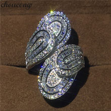 choucong Unique Big Flower Ring 5A Zircon sona Cz 925 Sterling Silver Engagement Wedding Band Rings for women men Finger Jewelry(China)