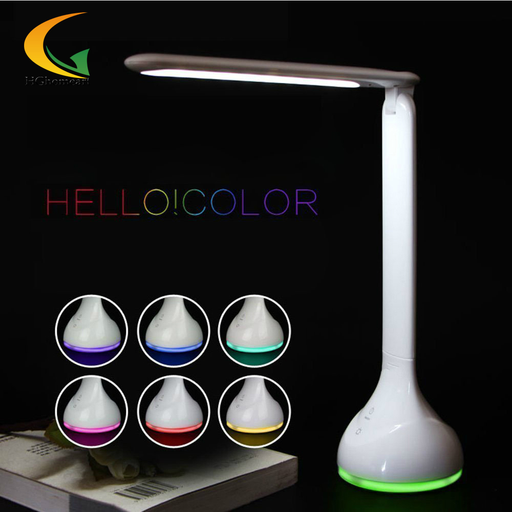 ФОТО 256 color Battery Touch Switch USB book light Folding LED Desk Lamp Table Light led desk table lamp LED Rechargeable Battery