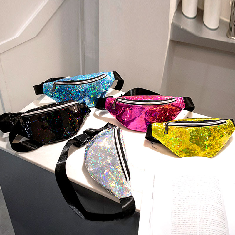 Sequins Holographic Fanny Pack Feminina Waist Pack Women's Laser Chest Waist Bag Women Belt Bag Bum Bag 2018 New(China)