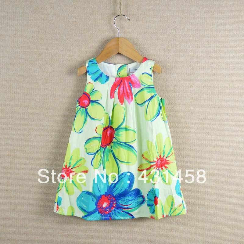 FREE SHIPPING  children's clothing summer female child 100% cotton ink painting tank dress sleeveless print one-piece dress free shipping new arrival children s clothing child one piece dress twinset winter dress good quality coat dress