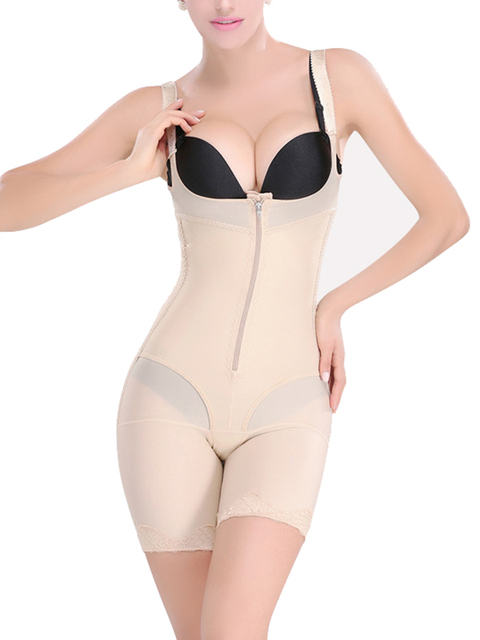 51d82370c Easy to urinate sexy women bodysuit lingerie underbust sexy body shapewear  nude zipper body shaper corset with pants