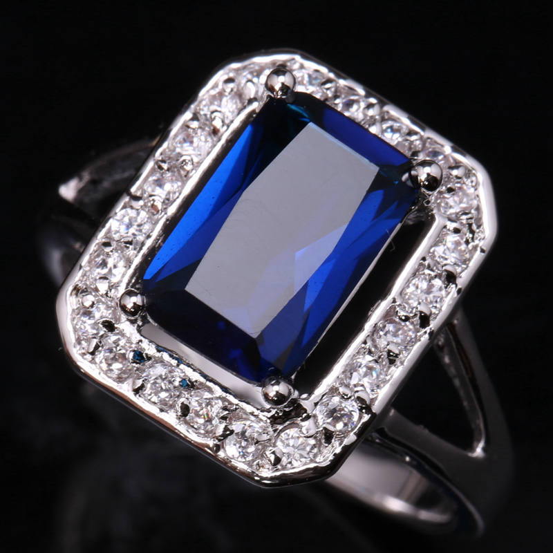 Awesome Gems London Deep Blue Onyx White Zircon 925 Sterling Silver Ring US# Size 6 / 7 / 8 / 9 S1596 equte rssw30c1s7 fashionable titanium steel two zircon women s ring silver white us size 7
