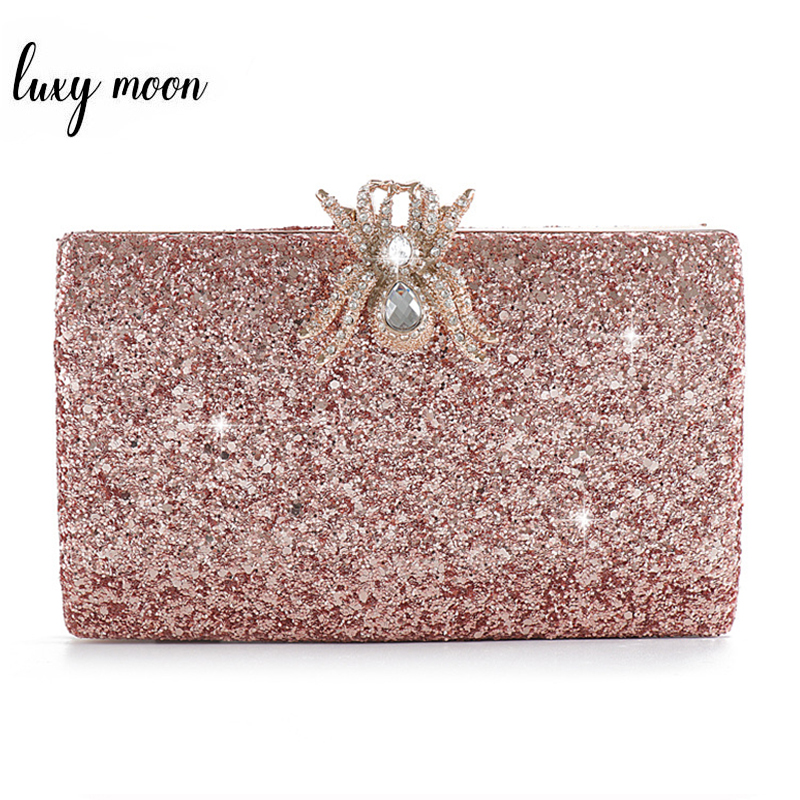Pink Purse Sequined Clutch Bag Female Luxury Wedding Party Pearl Chain Handbag Unique Diamond Spider Lock Evening Bags ZD1267