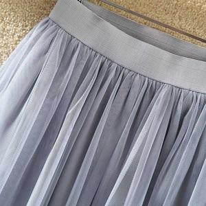 Image 4 - Tigena Dài Voan Váy Nữ Mùa Hè 2020 Thun Cao Cấp Phối Lưới Tutu Váy Xếp Ly Nữ Đen Trắng Xám Váy Maxi