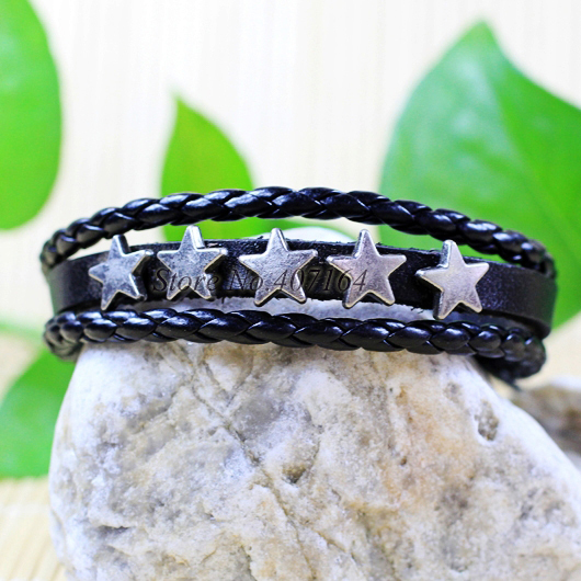 CB10- Bangle Zinc Alloy Genuine Leather Bracelet Braided Rope Fashion Jewelry Unisex Star Wristband - SunFlower Trade Co.,Ltd store