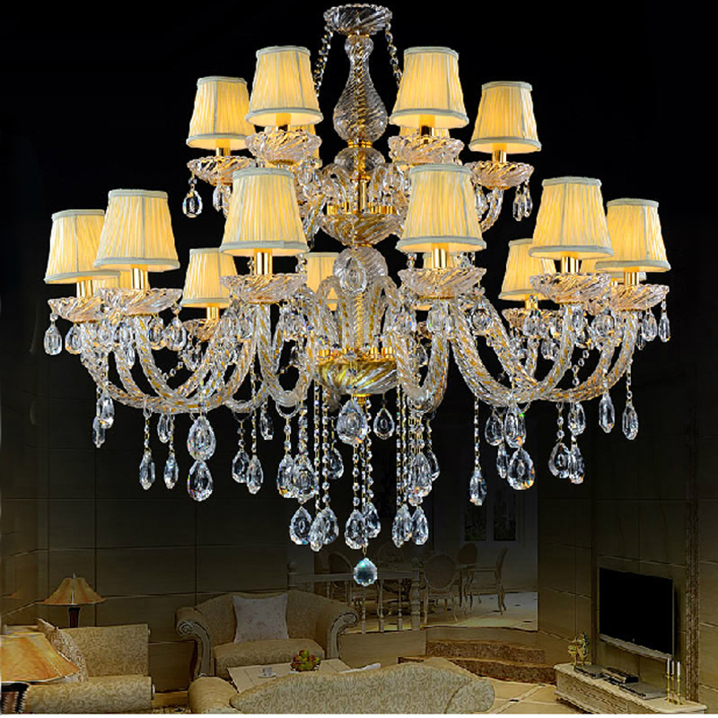 Elegant Crystal Chandelier With Shades Living Room Glass