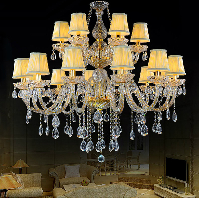Elegant Crystal Chandelier With Shades Living Room Glass Lamp K9 Vintage