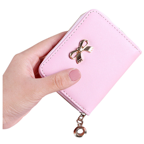 Fashion Women/girls 3D Bow Knot Decoration Long Wallet Female Portable PU Leather