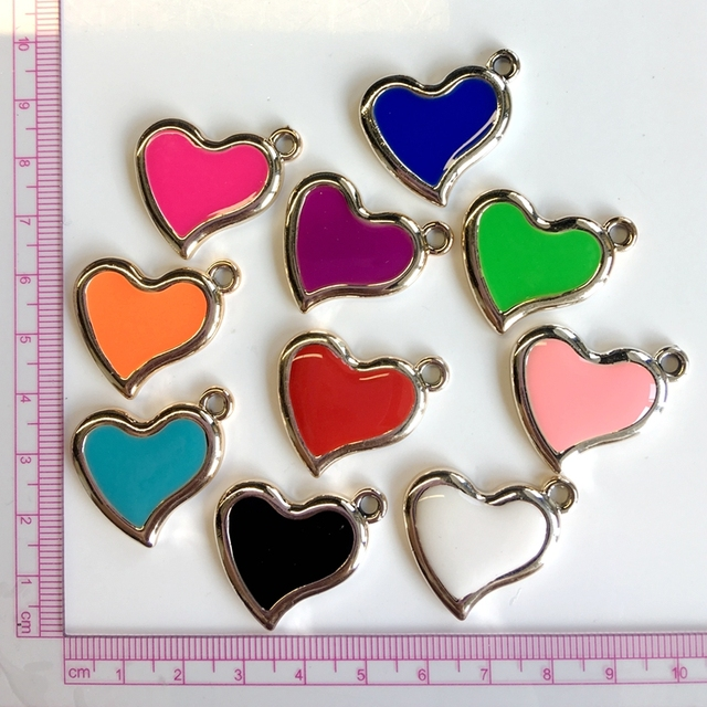 Ccor 10pcs colorful oil drip heart plastic pendant fit necklace ccor 10pcs colorful oil drip heart plastic pendant fit necklace phone strips wristband belt tags collar mozeypictures Choice Image