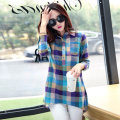 Korean Turn-down Collar Women Blouses Autumn 2016 Fashion Long Sleeve Shirt Women Linen Tops Female Plaid Blusas Chemise Femme