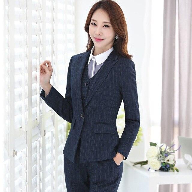 abb919f7cfc26 Plus Size 4XL Professional Blazers Business Women Work Wear With 4 pieces  Jackets + Pants + Vest + Blouses Pants Suits