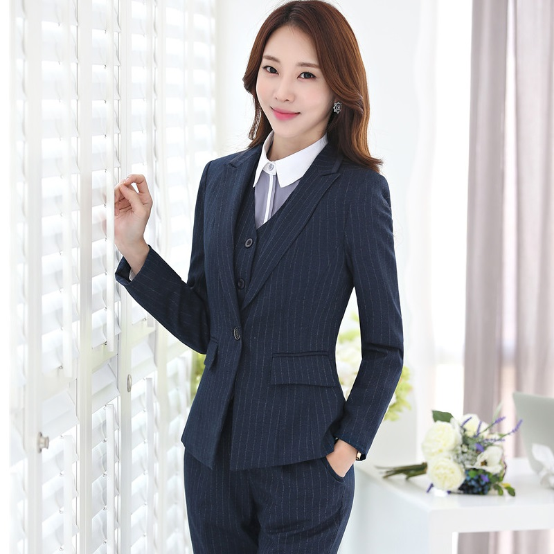 Plus Size 4XL Professional Blazers Business Women Work Wear With 4 pieces Jackets + Pants + Vest + Blouses Pants Suits