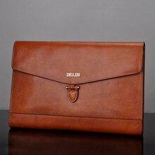 Delin сумки мужские кожаные большой емкости конверт дерево крем кожа деловая Повседневная сумка