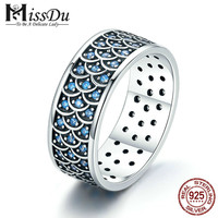 925 Sterling Silver Stackable Ring Charming Ocean Round Cocktail Finger Rings for Women Sterling Silver Jewelry SCR212