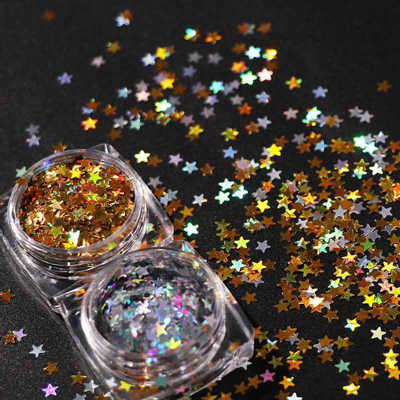 Diy Polish Star Ornament: 1Case 2 Colors 3mm Five Pointed Star Sequins Laser Nail
