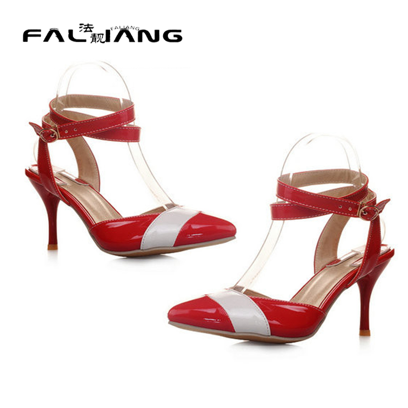 ФОТО New Hot Women's Sexy Valentine Shoes Pointed Toe High Heels Women party High Heels large size 34-43