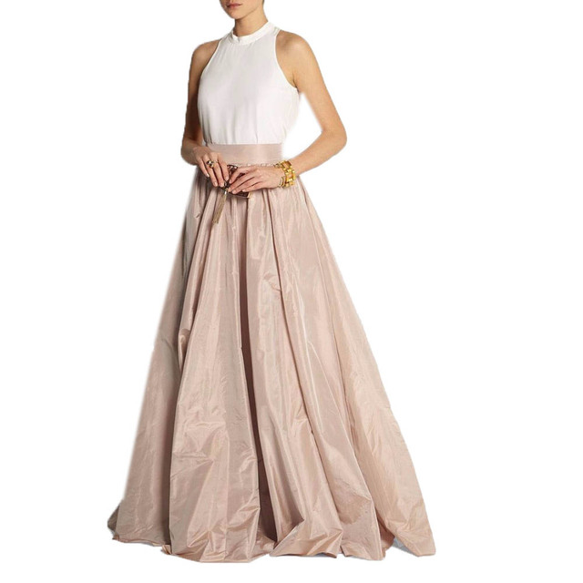 Vintage Khaki Taffeta Floor Length Skirts For Lady To Prom Party ...