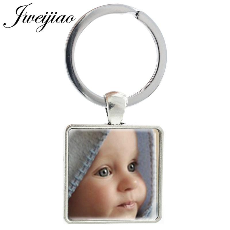 JWEIJIAO Custom Your Family Pet Photo Square Keychain Gift For Family Friend Glass Cabochon Photo Personalized Jewelry NA01