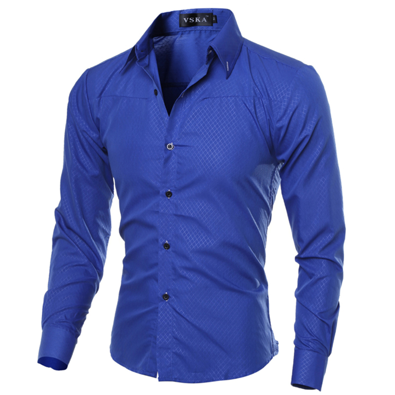 5xl plus size brand clothing cotton mens clothing solid for Mens dress shirt sleeve length