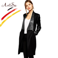 ArtSu 2017 Womens Winter Jackets and Coats Cashmere Patchwork Leather Slim Long Sleeve Open Stitch Woollen Coat Brand 3072
