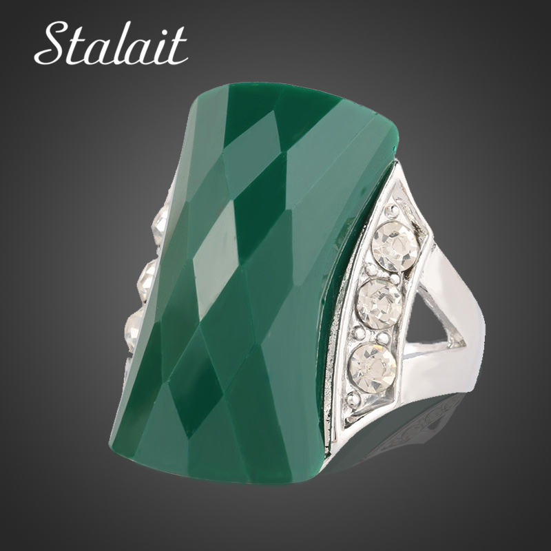 Fashion Big Statement Square Green Semi Precious Stone Wide Silver Color Ring Jewelry For Women Party Engagement Rings Finger