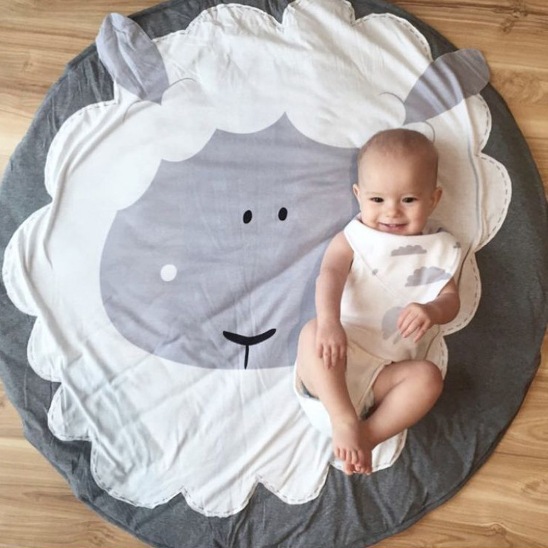 Nordic Style Cartoon Sheep Baby Kids Crawling Blanket Lovely Round Play Game Mats Rug Carpet Game Pad Children Room Decoration