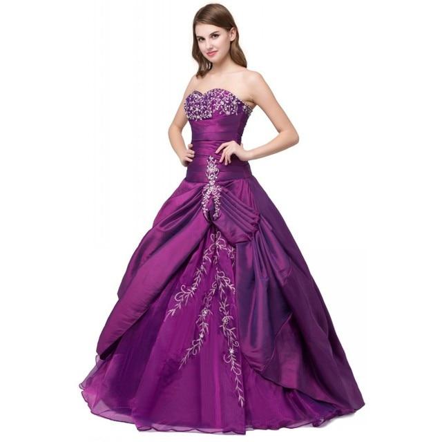 758552ad7 Despeje Listo para enviar vestido de quinceañera púrpura bordado ...