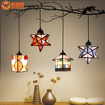 fashion europ tiffany star pendant light stained glass restaurant  bar dinging room hanging lighting