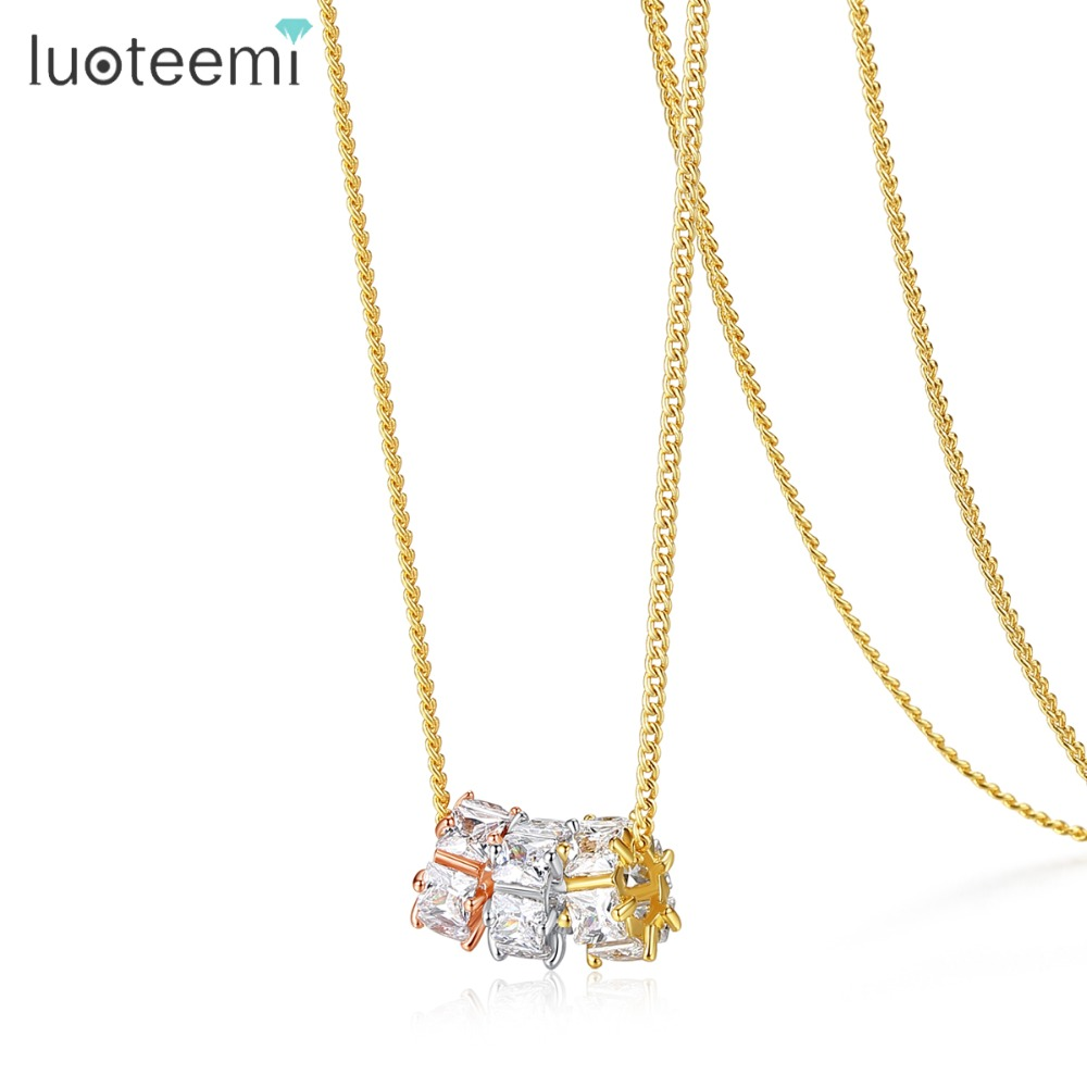 LUOTEEMI Fashion Three Color Round Shaped Pendant Necklace With Cubic Zirconia For Women Gold Color Sweater Necklaces Jewellery