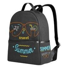 Qokr Модные женские рюкзаки летние каникулы для девочек-подростков Печать на холсте путешествия черный сумки Mochilas feminina