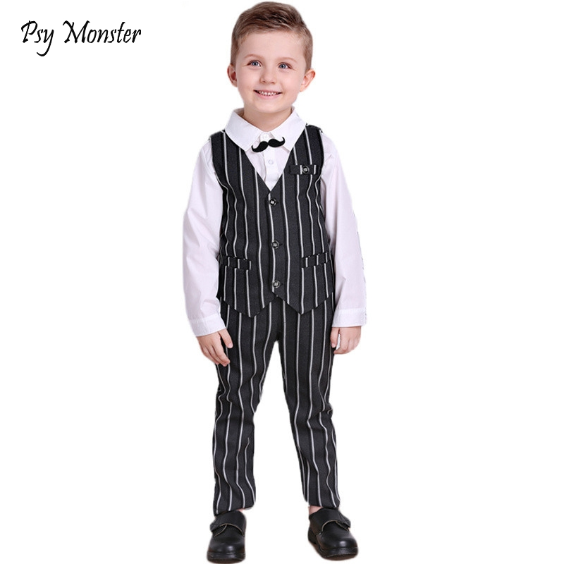 Kids Wedding Formal Suit Boys Shirt + Vest + trousers 3Pcs Outfits Baby Gentleman Performance Suits Children Clothing Sets A21 2017spring hot sale handsome boys gentleman suit children s formal clothing set kids wedding party clothes vest shirt pant 3pcs
