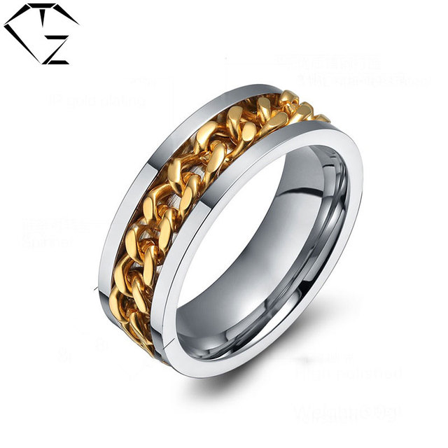 Rotatable Ring Simple Gold Color Stainless Steel Punk Wedding Rings For Women Men Jewelry Usa Size