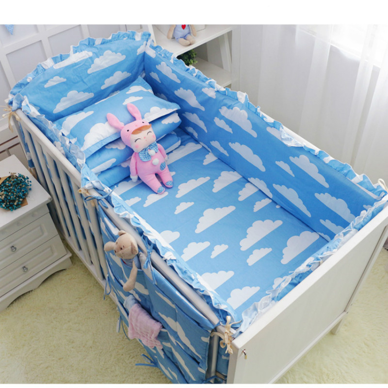 6 Pcs clouds star pink gray blue baby bedding bumper breathable crib liner cotton crib bumper baby cot sets baby bed protector