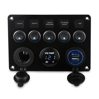 5ギャングon-offトグル車スイッチパネルデュアルusbソケット充電器4.2a led電圧計12ボルト電源コンセント用カーボートトラックキャンパー