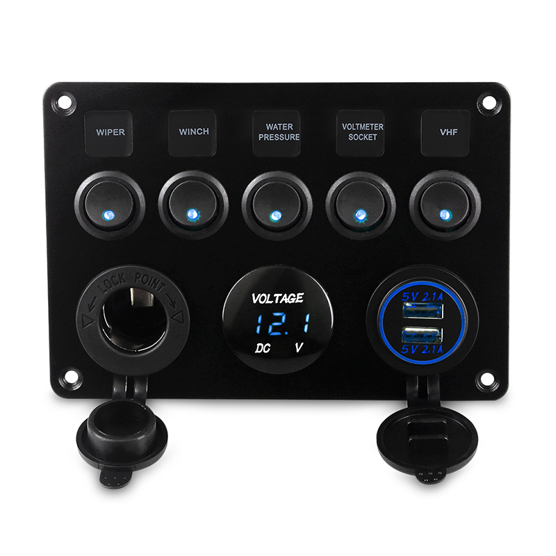 5 Gang ON-OFF Toggle Car Switch Panel Dual USB Socket Charger 4.2A LED Voltmeter 12V Power Outlet for Car Boat Truck Camper