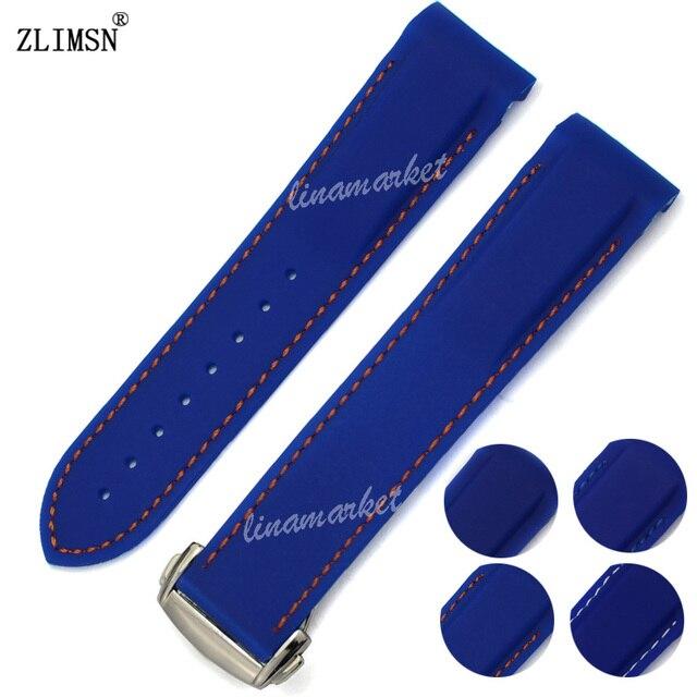 Mergulhador zlimsn 20mm x 18mm azul banda de borracha de silicone pulseiras de ouro rose black watch strap para o planeta-oceano ome15 relojes hombre