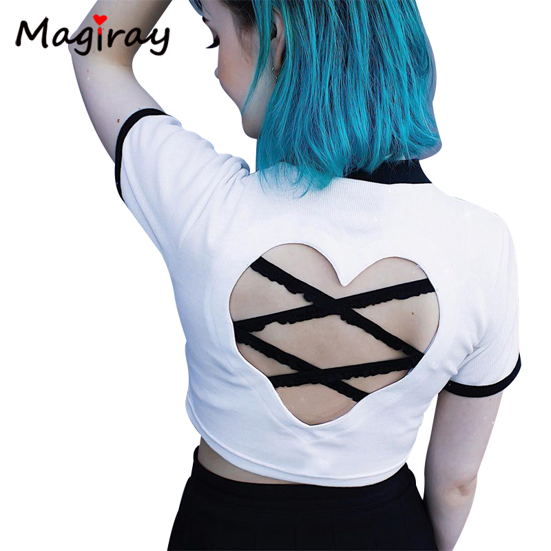 Magiray Ulzzang Contrast White Women Casual T-<font><b>shirt</b></font> Female Crop Top <font><b>Heart</b></font> <font><b>Cut</b></font> <font><b>Out</b></font> Sexy Backless Lace Up Punk 2020 Summer C401 image