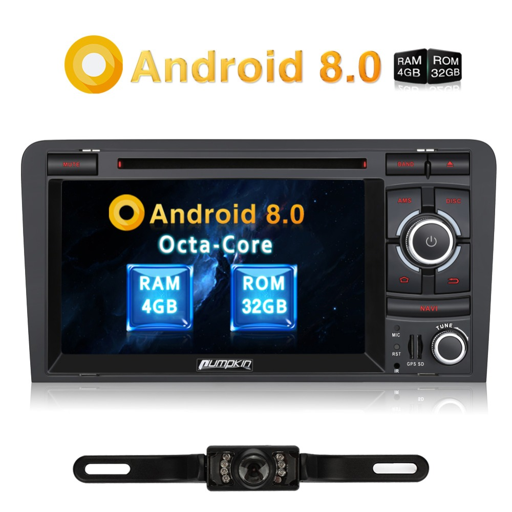 Pumpkin Android 8.0 Car Stereo 2 Din 7''Car Radio Octa Core 4GB RAM GPS Navigation for Audi A3 2003 2011 Audio Video DVD Player